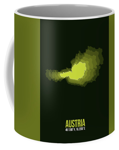 Map Of Austria Coffee Mug featuring the digital art Austria Radiant Map 3 by Naxart Studio