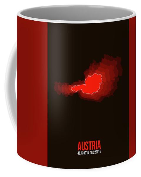 Map Of Austria Coffee Mug featuring the digital art Austria Radiant Map I by Naxart Studio