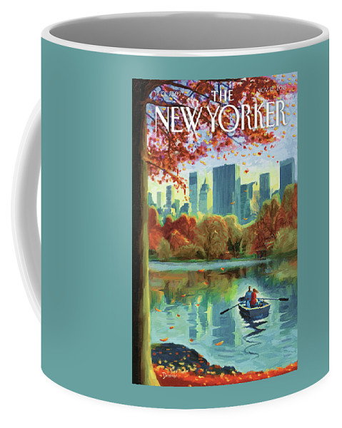Autumn Central Park Coffee Mug featuring the drawing Autumn Central Park by Eric Drooker
