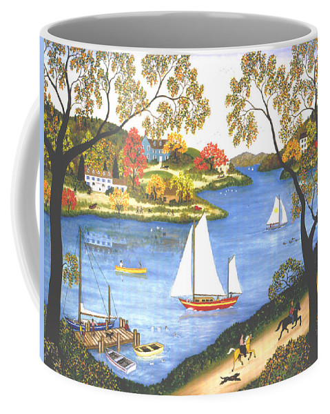 Contemporary Fine Art Landscape Coffee Mug featuring the painting Autumn Holiday by Linda Mears