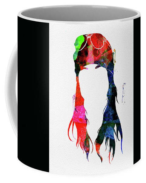 Axl Rose Coffee Mug featuring the mixed media Axl Rose Watercolor by Naxart Studio