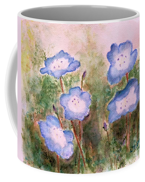 Flower Coffee Mug featuring the painting Baby Blue Eyes by Laurie Morgan