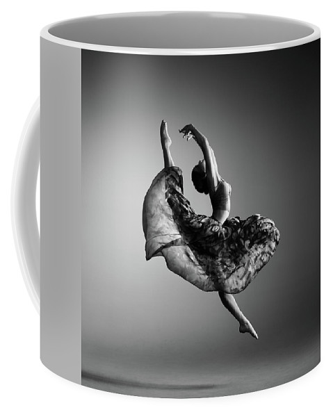 Ballerina Coffee Mug featuring the photograph Ballerina Jumping by Johan Swanepoel