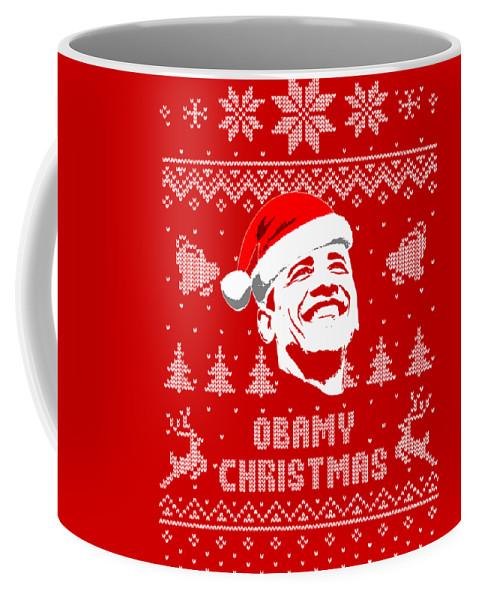 Santa Coffee Mug featuring the digital art Barack Obama Obamy Christmas by Filip Hellman
