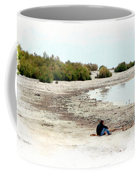 Watercolor Coffee Mug featuring the photograph Beach Goers-The Salton Sea in Digital Watercolor by Colleen Cornelius
