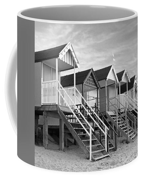 Beach Huts Coffee Mug featuring the photograph Beach Huts Sunset In Black And White Square by Gill Billington