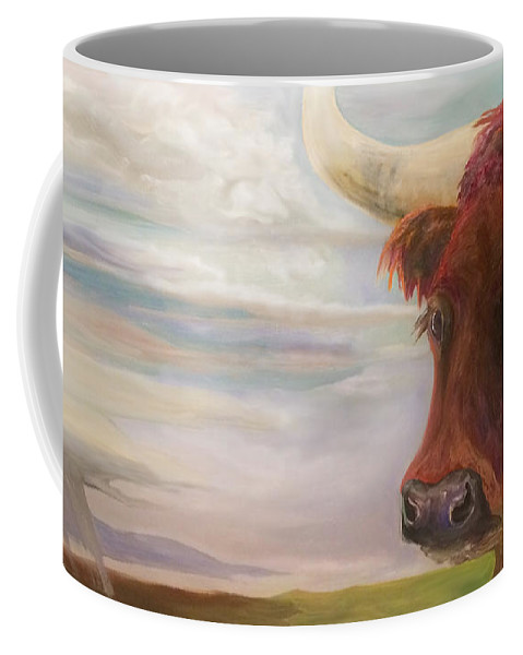 Western Art Coffee Mug featuring the painting Bear by Donna Hall