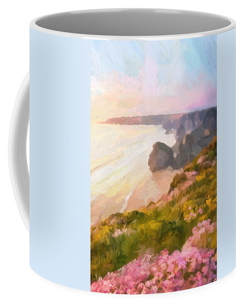 Bedruthan Steps Coffee Mug featuring the digital art Bedruthan Steps by Scott Waters
