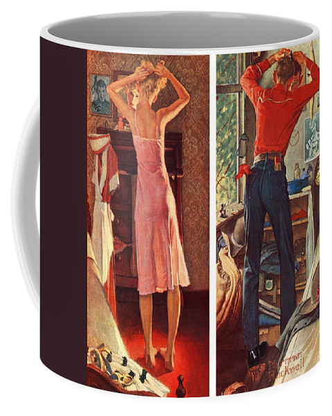 Cowboy Coffee Mug featuring the drawing Before The Date by Norman Rockwell