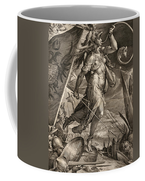 Jan Muller Coffee Mug featuring the painting Bellona Leading The Armies Of The Emperor Against The Turks, 1600 by Jan Muller