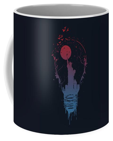 Light Coffee Mug featuring the mixed media Big City Lights by Balazs Solti