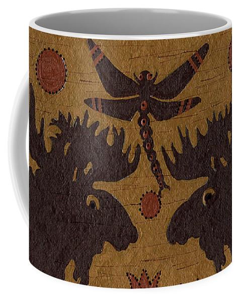 Native American Coffee Mug featuring the painting Birch Bark - Moose Medicine by Chholing Taha