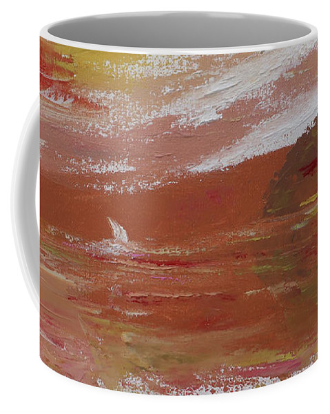 Palette Knife Painting Coffee Mug featuring the photograph Birds And Sailboat In Paradise Panorama by Felipe Adan Lerma