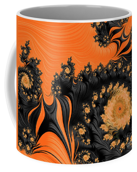 Fractals Coffee Mug featuring the digital art Black And Orange Swirls by Elisabeth Lucas
