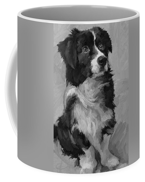 Border Coffee Mug featuring the painting Black and White Pup by Scott Waters