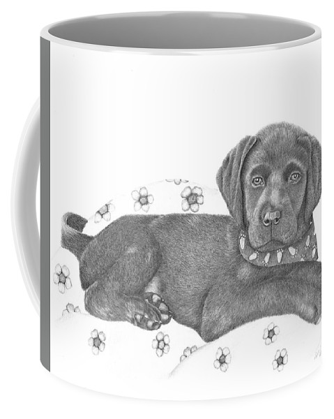 Puppy Coffee Mug featuring the drawing Black Lab - Molly by Patricia Hiltz