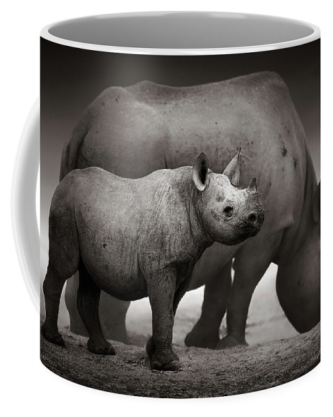 Wild Coffee Mug featuring the photograph Black Rhinoceros Baby And Cow by Johan Swanepoel
