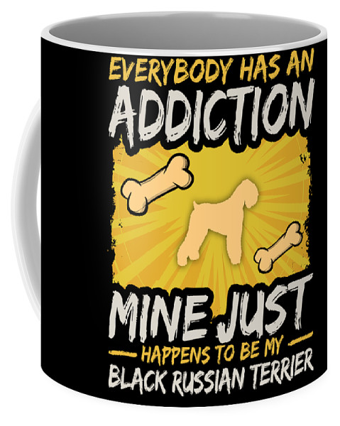 Funny-dog-breed Coffee Mug featuring the digital art Black Russian Terrier Funny Dog Addiction by Passion Loft