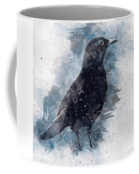 Blackbird Coffee Mug featuring the digital art Blackbird Grunge Edition by Matthias Hauser