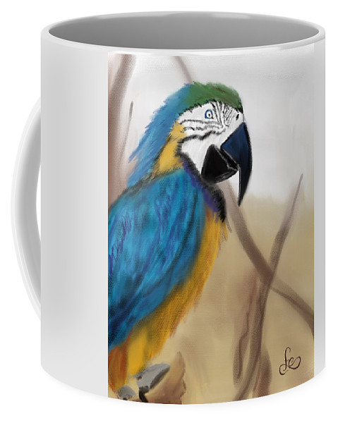 Parrot Coffee Mug featuring the digital art Blue Parrot by Fe Jones