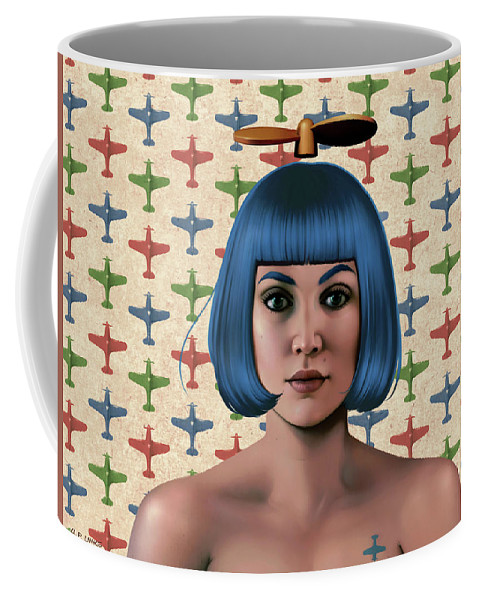 Pop Coffee Mug featuring the mixed media Blue Propeller Gal by Udo Linke