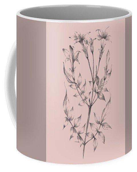 Flower Coffee Mug featuring the mixed media Blush Pink Flower Sketch II by Naxart Studio