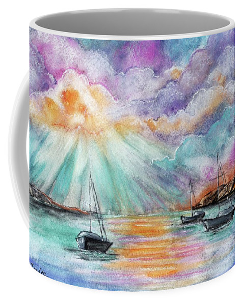 Sea Coffee Mug featuring the drawing Boats In The Sea by Elena Sysoeva