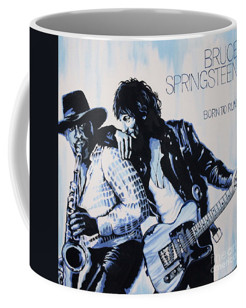 Bruce Springsteen Coffee Mug featuring the painting Born to Run Bruce Springsteen by Amy Belonio