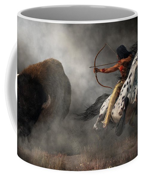 Buffalo Hunt Coffee Mug featuring the digital art Buffalo Hunt by Daniel Eskridge