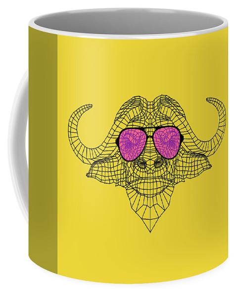 Buffalo Coffee Mug featuring the digital art Buffalo In Pink Glasses by Naxart Studio