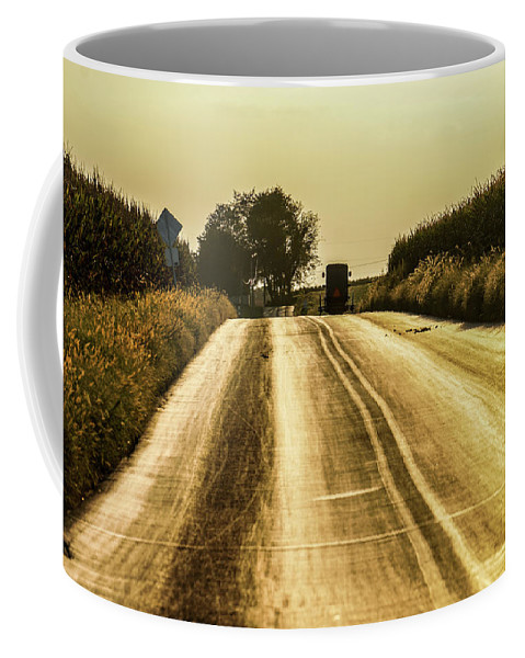 Country Road Coffee Mug featuring the photograph Buggy At Golden Hour by Tana Reiff