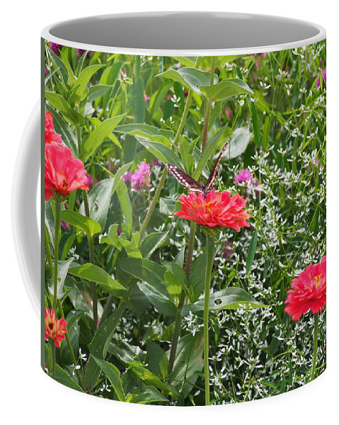 Butterfly Flower Red Green Wings Coffee Mug featuring the photograph Butterfly Before Flight by Thomas Wojnar