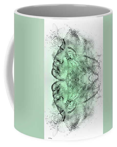 Double Exposure Coffee Mug featuring the mixed media Butterfly Effect 03 by G Berry