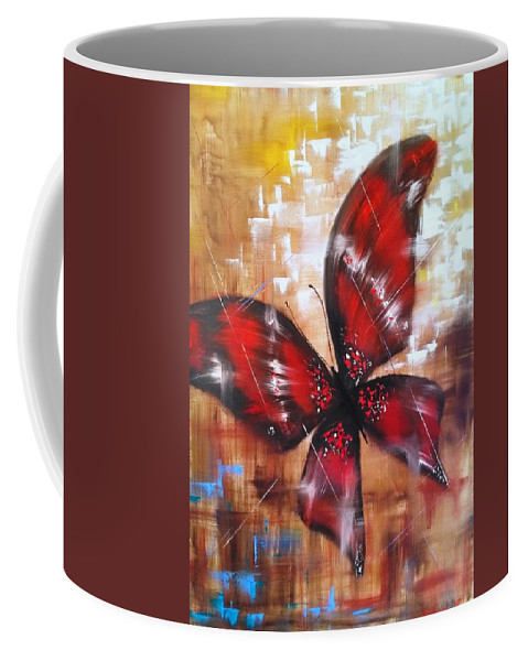 Animals Coffee Mug featuring the painting Butterfly by Tetiana Verstak