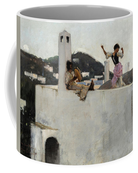 John Singer Sargent Coffee Mug featuring the painting Capri Girl On A Rooftop, 1878 by John Singer Sargent