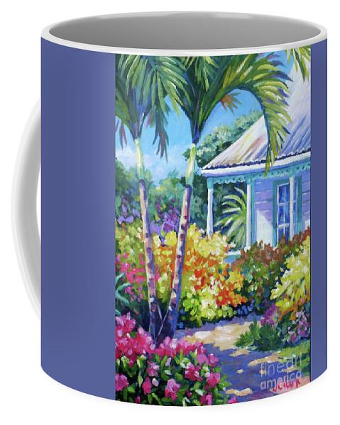 Art Coffee Mug featuring the painting Cayman Yard by John Clark