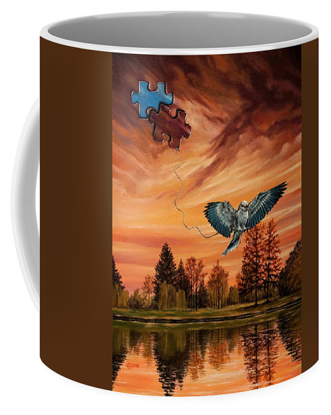 Surrealism Coffee Mug featuring the painting Changemaker by Svetoslav Stoyanov