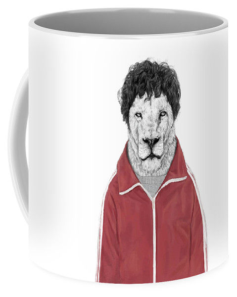 Lion Coffee Mug featuring the drawing Chas by Balazs Solti