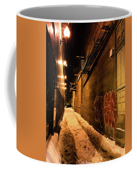 Chicago Coffee Mug featuring the photograph Chicago Alleyway At Night by Shane Kelly