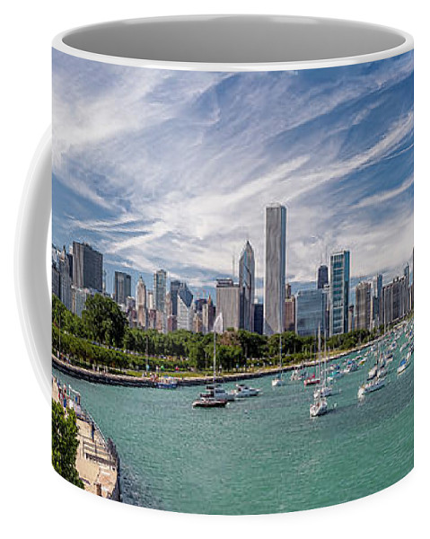 3scape Coffee Mug featuring the photograph Chicago Skyline Daytime Panoramic by Adam Romanowicz