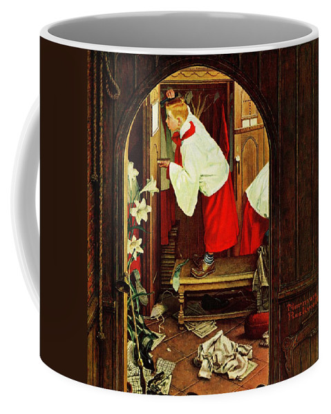 Choirboys Coffee Mug featuring the drawing choirboy by Norman Rockwell