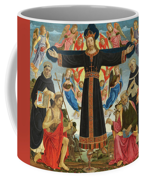 Fiesole Epiphany Coffee Mug featuring the painting Christ On The Cross With Saints Vincent Ferrer, John The Baptist, Mark And Antoninus, 1495 by Master of the Fiesole Epiphany