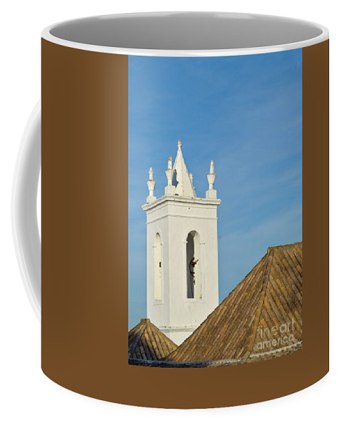 Overview Coffee Mug featuring the photograph Church Bell Tower Behind Tiled Roofs In Tavira by Angelo DeVal