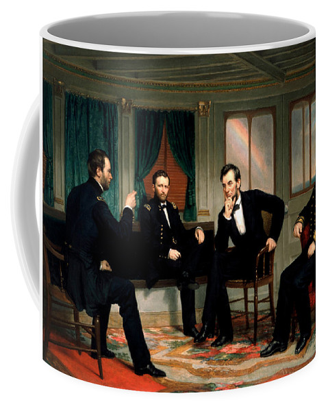 Civil War Coffee Mug featuring the painting Civil War Union Leaders - The Peacemakers - George P.a. Healy by War Is Hell Store