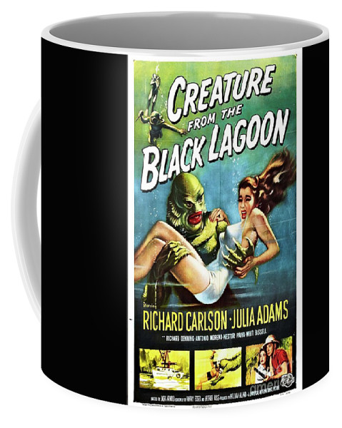 Poster Coffee Mug featuring the painting Classic Movie Poster - Creature From The Black Lagoon by Esoterica Art Agency