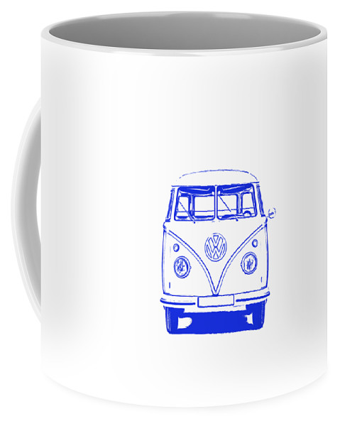 Vw Coffee Mug featuring the photograph Clear Blue Vw Bus Graphic by Edward Fielding