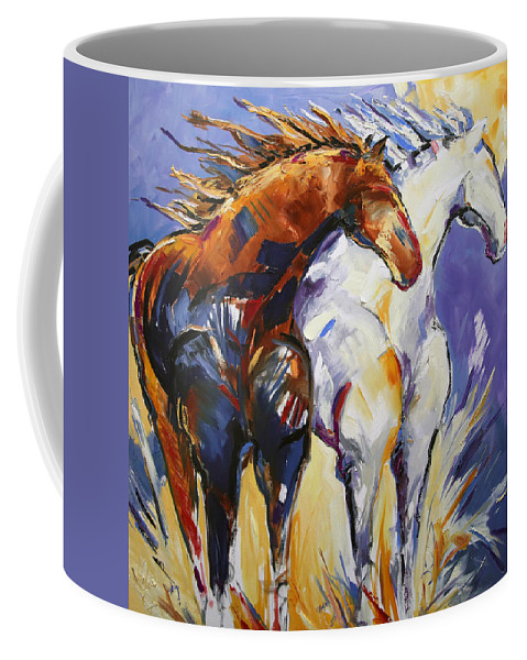 Horse Painting Coffee Mug featuring the painting Cliffhangers by Laurie Pace