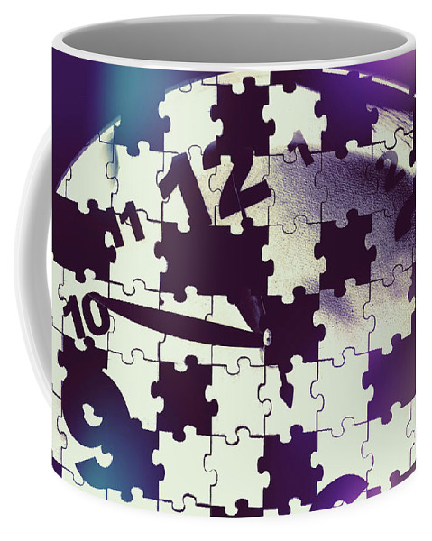 Mystery Coffee Mug featuring the photograph Clock Holes And Puzzle Pieces by Jorgo Photography - Wall Art Gallery