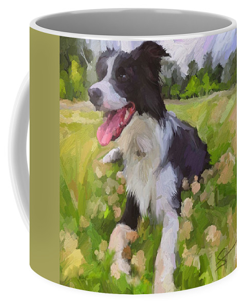 Border Collie Coffee Mug featuring the digital art Collie Flowers by Scott Waters