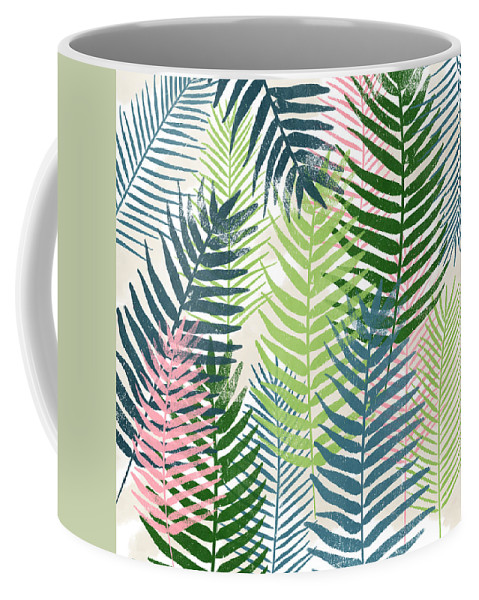Tropical Coffee Mug featuring the mixed media Colorful Palm Leaves 2- Art by Linda Woods by Linda Woods